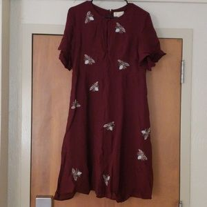 Anthropologie Maroon Butterfly Embroidered Dress 8